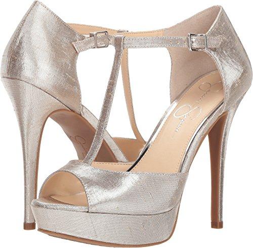 Jessica Simpson Women's Bansi Shimmer Silver Metallic Shine Fabric 9 M US