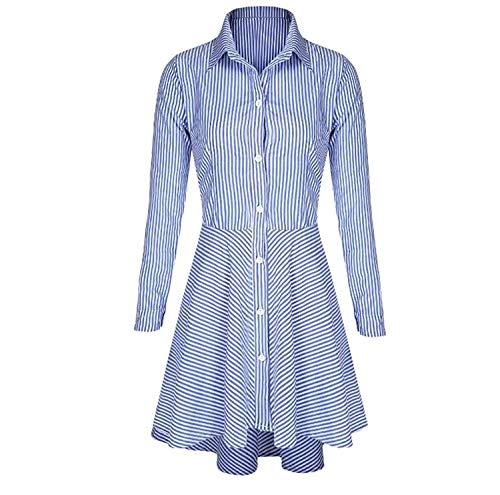 A Donna Camicia Risvolto down Con Lunghe Maniche Blu Da Forsafe Button Sottile Righe HPqwdxAO