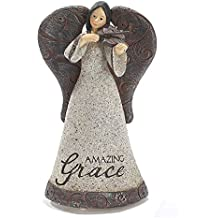 Filigree Angel with Violin Textured Grey 4 x 7 Resin Musical Figurine Plays Tune Amazing Grace