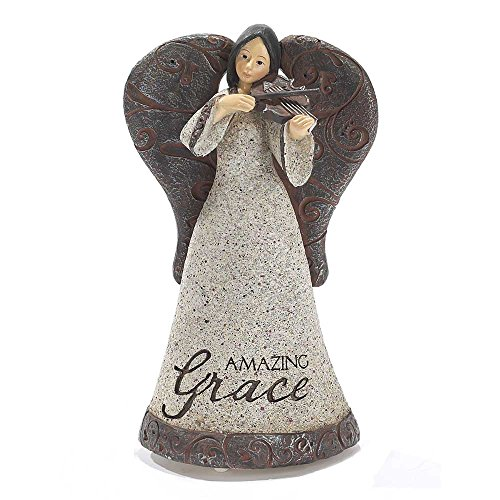 Filigree Angel with Violin Textured Grey 4 x 7 Resin Musical Figurine Plays Tune Amazing ()