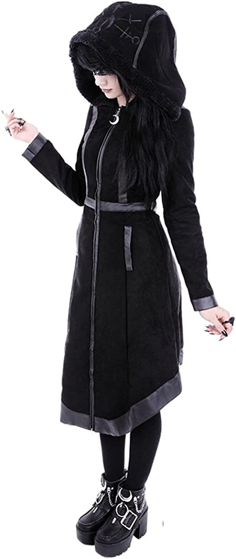 MOON PARKA Black gothic winter coat with oversized fur hood