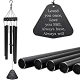 Astarin Wind Chimes Outdoor Deep Tone,30'' Amazing Grace Wind Chimes Sympathy Memorial Wind Chimes with 5 Metal Tube for Garden Yard Home Housewarming or Funeral Hanging Decor,Matte Black