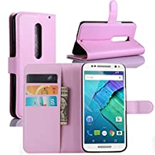 Fettion Moto X Pure Edition / Moto X Style Case, Premium Leather Wallet Case Cover with Stand Card Holder for Motorola Moto X Style / Pure Edition 2015 Phone (Wallet - Pink)