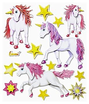 Stickerkoenig 3D Sticker XXL Wandtattoo Kinderzimmer Wandsticker    Fabelhafte Niedliche Einhörner Einhorn