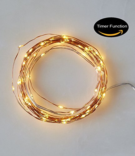 Starry String Lights Timer Battery Holder Case Operated Flexible Fairy Lights 9.8 Feet 30 LEDs Copper Wire Rope Light Patio Decorations Ultra Thin Mini Lighting For Bedroom, Patio, Garden, Gate, Yard