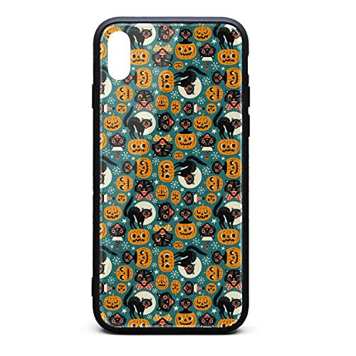 Cool Phone Case for iPhone Xs MAX Halloween Spooky Vintage Cats and Pumpkins Rubber Frame Tempered Glass Covers Pretty Anti-Scratch Skid-Proof Never Fade Mobile Cases Hippie Hard]()