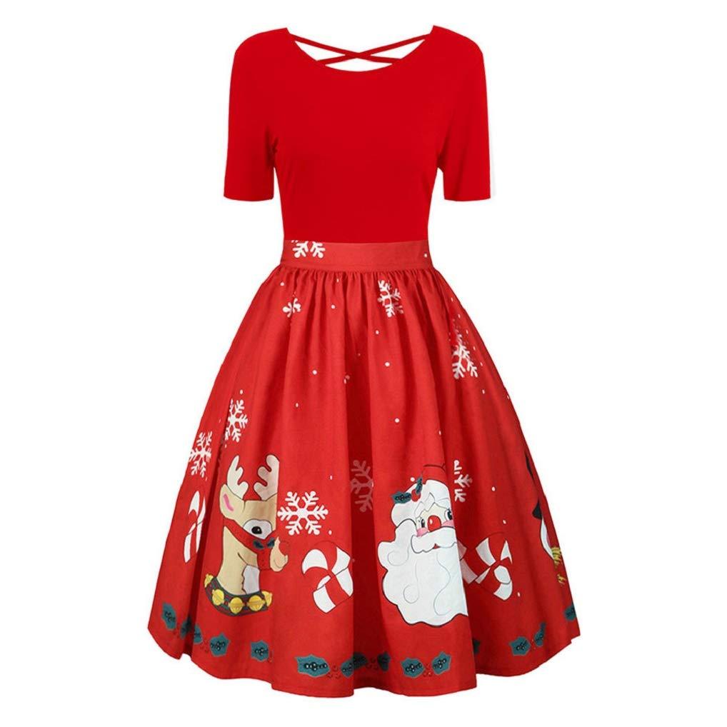 TUDUZ Womens Dress Ladies Plus Size Christmas Print Swing Dress Back Criss Cross Gown Evening Party Cocktail Dress