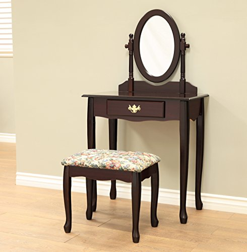 frenchi home furnishing twopiece vanity set with queen anne design rich cherry finish none