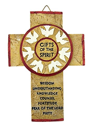 Confirmation Gifts of the Holy Spirit Resin Wall Cross, 7 1/4 Inch