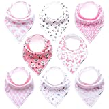 Baby Girl Bandana Drool Bibs for Drooling and Teething 8-Pack Gift Set by TheAZBaby