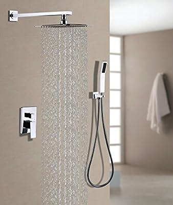 "BOHARERS Bathroom 10"" Rainfall Shower Head & Hand Spray Wall Mount Multi-Function Rain Mixer Shower Combo, Polished Chrome"