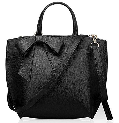 Xinmaoyuan Mujer bolsos de cuero Bolsos de cuero de vaca Color puro madre arco bolsa de hombro Bolso Messenger portátil Negro