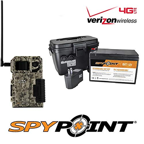 SPYPOINT Link-Micro-V Cellular MMS Trail Camera 4G/LTE (VERIZON) with Rechargeable Battery KIT-12V and Free 2 Year Warranty Deluxe Trail Camera Package(4G Camera, 12V Power Kit) (Best Trail Camera Warranty)