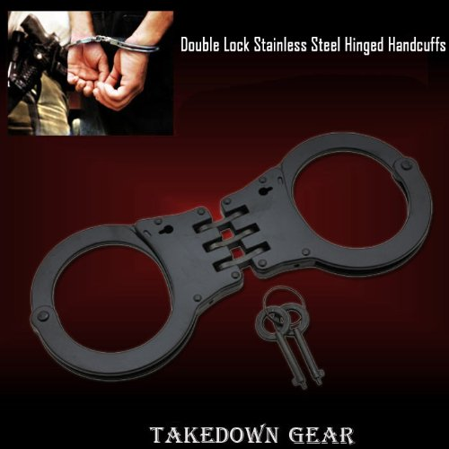 BLACK Heavy Duty, Hinged Handcuffs, Double Lock, Stainless Steel, Tactical, Handcuffs, Police Quality, NIJ Approved, Double Key by DefenderKnives