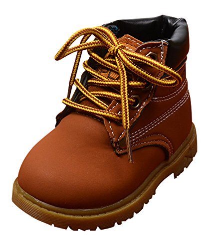 Baby Boys Winter Martin Snow Boots Toddler Warm Short Anti Slip Ankle Boot Rubber Sole First Walkers Brown Size 22