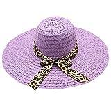 Beach Cap Women Print Two-Side Big Brim Straw Hat Sun Floppy Wide Brim Hats Purple