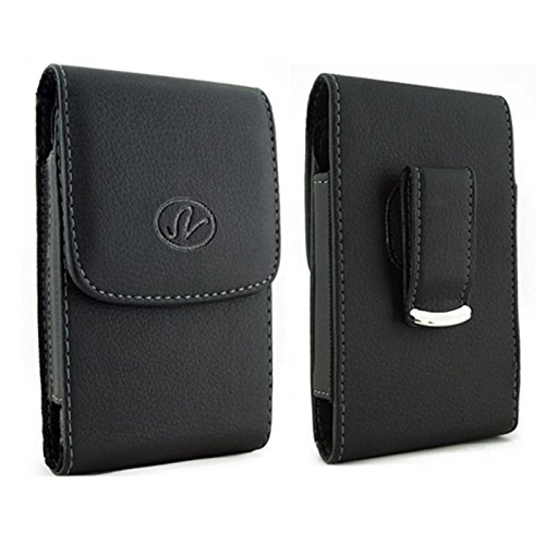 Leather 5800 (HTC 5800 Vertical Premium Leather Carrying Case Pouch Holster with Magnetic Closure Rotating Belt Clip)