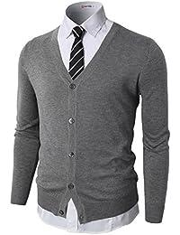 H2H Mens Casual Slim Fit Knitted Basic Designed V-Neck Long Sleeve Cardigan