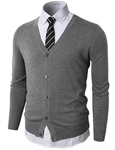 - H2H Mens Casual Slim Fit Knitted Basic Designed V-Neck Long Sleeve Cardigan Gray US 2XL/Asia 3XL (CMOCAL09)