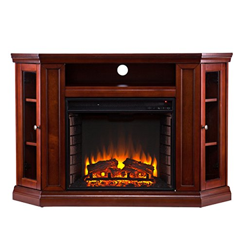 SEI Claremont Media Console with Electric Fireplace, Brown Mahogany by Southern Enterprises