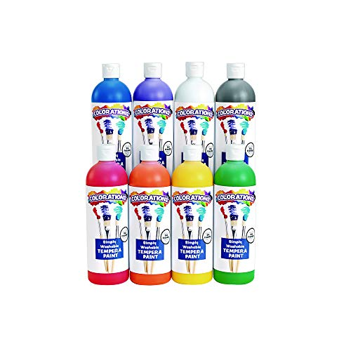 - Colorations Simply Washable Tempera Paints, 16 oz, Set of 18, Non Toxic, Vibrant, Bold, Kids Paint, Craft, Hobby, Arts & Crafts, Art Supplies