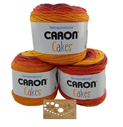 Caron Cake Bundle Acrylic Wool Blend Self-Striping Medium Gauge #4 Worsted w/Bamboo Knitting Gauge (Pumpkin Spice)