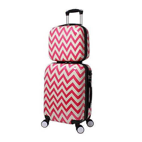 World Traveler Chevron 2-Piece Hardside Carry-on Spinner Luggage Set, Pink