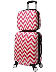 World Traveler Chevron 2-Piece Hardside Carry-on Spinner Luggage Set, Pink