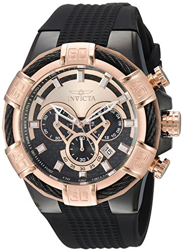 Invicta Men's 'Bolt' Quartz Stainless Steel and Silicone Casual Watch, Color:Black (Model: 24700)