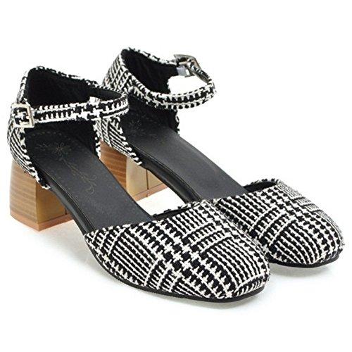 RAZAMAZA zhongkong Mujer Bombas Black Cerrado Zapatos fqgOxfr