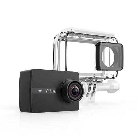 yi Lite cámara de acción 4 K/15fps, 1080p/60fps con lente ultra gran angular WiFi & Bluetooth con cubierta impermeable – negro