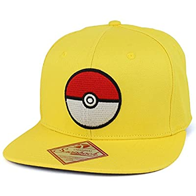 Trendy Apparel Shop Pokemon Pokeball Embroidered Flatbill Snapback Cap
