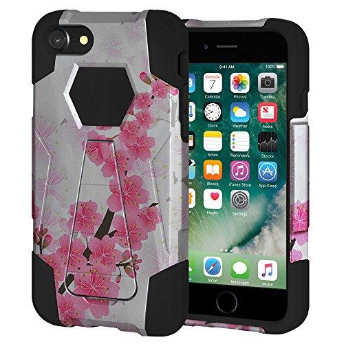 """Amzer Coque hybride double couche """"Sakura Cherry Blossom Floral exotique Étui à rabat avec béquille pour Apple iPhone 7"""