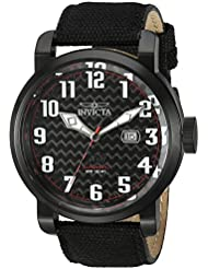 Invicta Mens Aviator Japanese Automatic Stainless Steel and Silicone Casual Watch, Color:Black (Model: 23076)