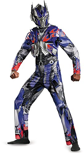 Optimus Prime Costumes Adults (Disguise Men's Hasbro Transformers Age Of Extinction Movie Optimus Prime Deluxe Costume, Blue/Red, X-Large/42-46)