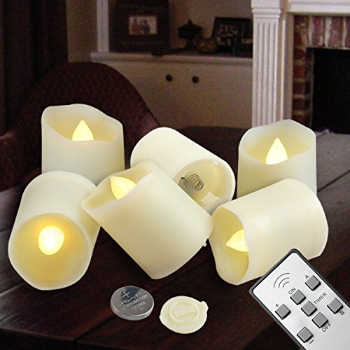 Votive LED Candle - Tea Light Flameless Unscented - Remote Control Timer Luminaria Tealight - Included CR2450 Battery Operated 200 Hours - Flickering Amber Yellow Flame - Holiday Wedding Decorations