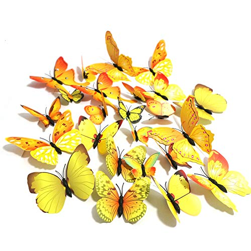 - 24 PCS PVC 3D Butterfly Fridge Magnets Refrigerator Magnets Wall Stickers Magnet Wall Decor Art Decor Crafts Home Party Decoration (Yellow)
