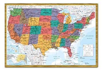 Amazon usa united states map wall chart poster magnetic notice usa united states map wall chart poster magnetic notice board oak framed 965 x 66 gumiabroncs Choice Image