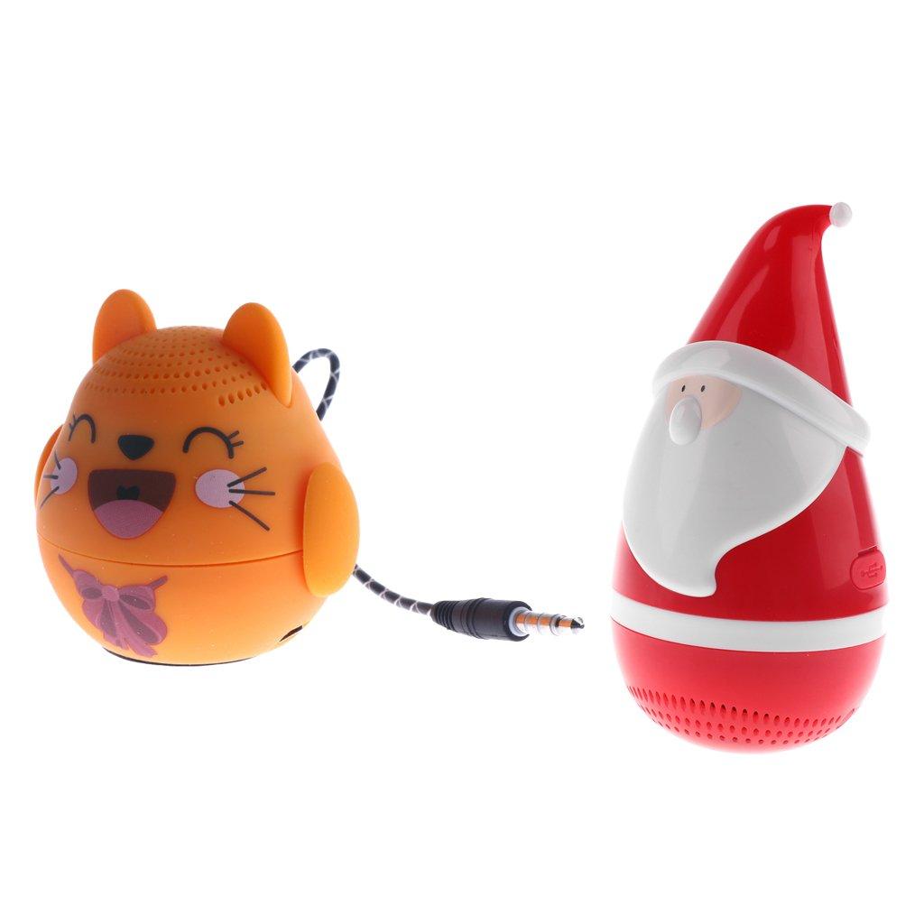 Fenteer Portable Christmas Santa Claus Tumbler Roly-poly Toys Wireless Speaker for Kids and Music Christmas Gift for Children+Cartoon Design Stereo Sound Speaker