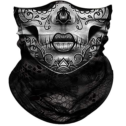 Skull Face Mask for Women Men Dust Wind UV Sun Protection Seamless Bandana Face Mask for Rave Festival Motorcycle Riding Biker Fishing Hunting Outdoor Running 3D Tube Mask (Gray Flower Face Women) ()