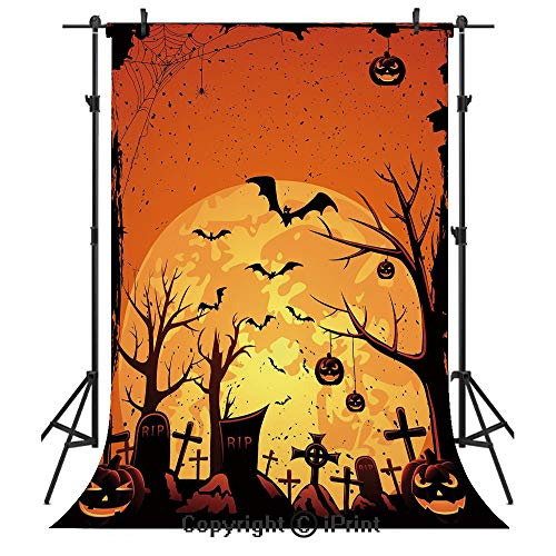 Halloween Photography Backdrops,Grungy Graveyard Cemetery Necropolis with Bats Pumpkins Crosses Cobweb Decorative,Birthday Party Seamless Photo Studio Booth Background Banner 6x9ft,Orange Brown Black -