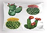 Ambesonne Cactus Pillow Sham, Watercolor Artwork Inspired by Tropical Nature Mexican Desert Flowers Collection, Decorative Standard Queen Size Printed Pillowcase, 30 X 20 inches, Multicolor