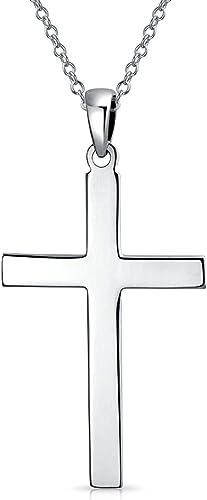 Religious Plain Simple Flat Cross Pendant Necklace For Men For