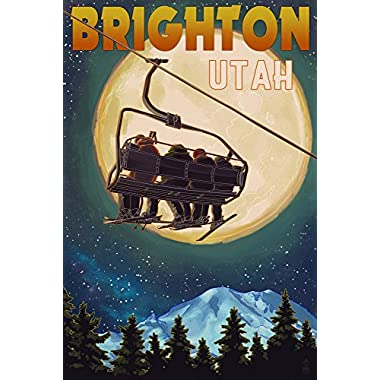Brighton, Utah - Ski Lift and Full Moon (16x24 Giclee Gallery Print, Wall Decor Travel Poster)
