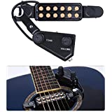 TraderPlus 12 SoundHole Guitar Pickup Acoustic Electric Transducer for Acoustic Guitar Magnetic Preamp with Tone and Volume Control, Cable Length 10 ft
