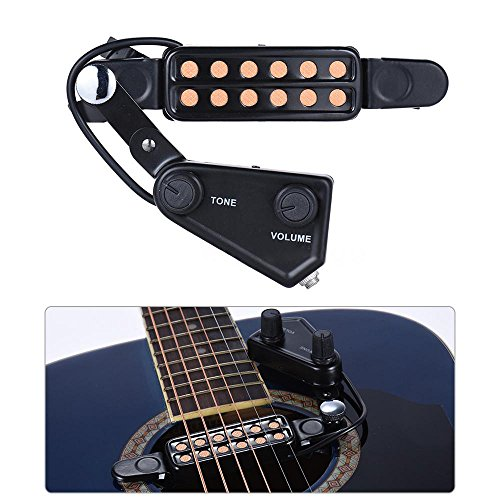 TraderPlus 12 SoundHole Guitar Pickup Acoustic Electric Transducer for Acoustic Guitar Magnetic Preamp with Tone and Volume Control, Cable Length 10 - Acoustic Preamp Guitar Soundhole