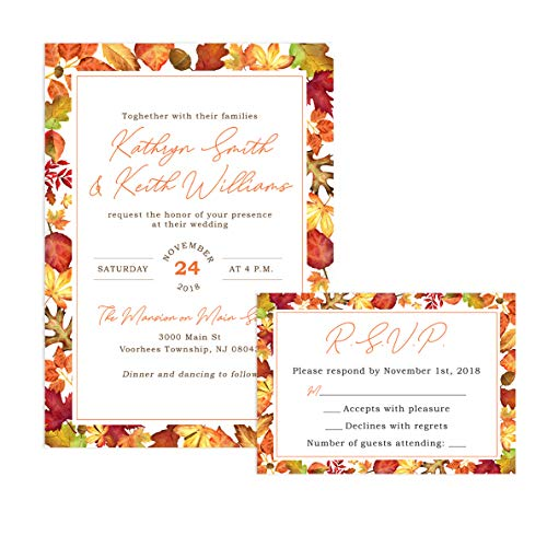 Fall Wedding Leaves Invitation (Fall Wedding Invitations and Self Mailing RSVP Cards - Includes Envelopes for Set)