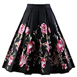 Dressever Women's Vintage A-line Printed Pleated Flared Midi Skirts Black-Rose X-Large
