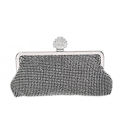 Womens Evening Bag with Rhinestones Crystal Clutch Shoulder Bag for Wedding and Party