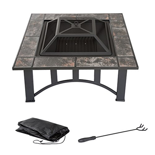 Fire Pit Set, Wood Burning Pit - Includes Screen, Cover and